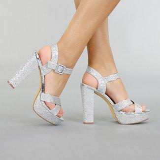 Zilveren Glitter Sandaletten met Plateau