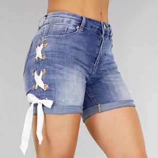 Gekreukte Jeans Short met Veterdetail