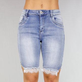 NEW0306 Jeans Bermuda met Strass en Kant