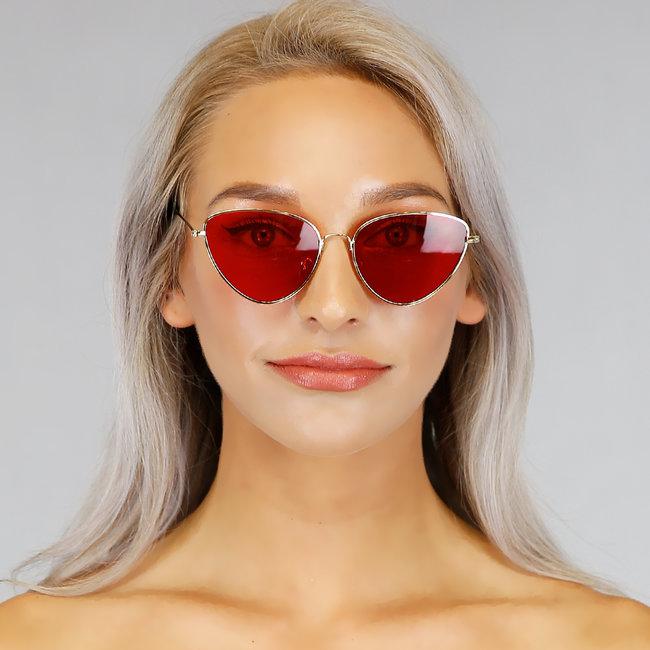 Retro Zonnebril met Rode Glazen
