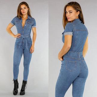 Stretch Jeans Jumpsuit met Korte Mouwen