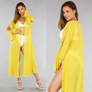 Geel Loose-Fit Chiffon Cover-Up Vest