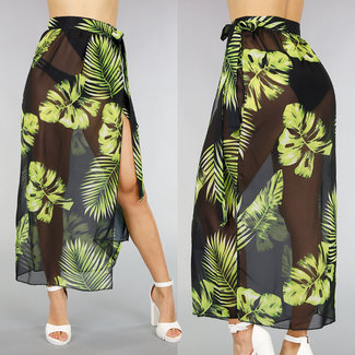 Zwarte Chiffon Cover-Up Pareo met Print