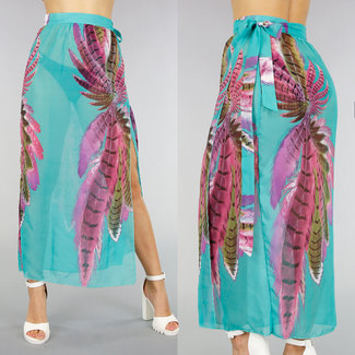 NEW2406 Turquoise Chiffon Cover-Up Pareo met Print