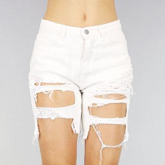 NEW0807 Wit High Waist Jeans Short met Scheuren