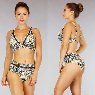 Animal Print High Waist Bikini met Zigzag Detail
