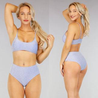 Blauwe Glitter High Waist Bikini