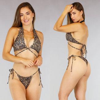 NEW2207 Luipaardprint Wrap Bikini