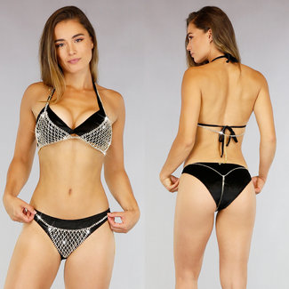 Gouden Cover Up Strass Bikini
