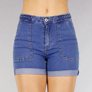 Donkerblauwe Jeans Short met Gevlochten Tailleband