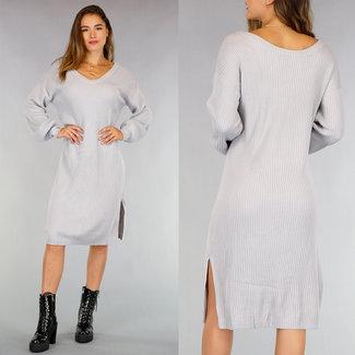 NEW0508 Loose-Fit Grijze Rib Sweater Dress