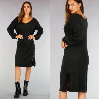 NEW0508 Loose-Fit Zwarte Rib Sweater Dress