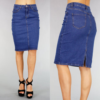 NEW0508 Blauwe Knee Length Spijkerrok