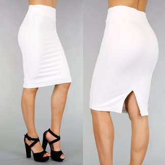 Witte High Waist Stretch Kokerrok