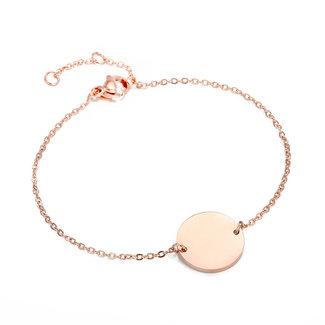 Rosé Smal Armbandje met Letter Bedel A t/m H