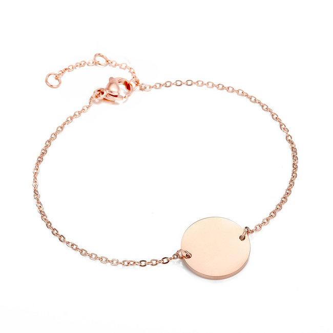 Rosé Smal Armbandje met Letter Bedel I t/m P