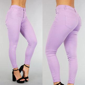 Lila Mid Waist Jeans met Knoopsluiting