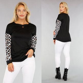 NEW2608 Zwarte Sweater met Luipaard Mouwen