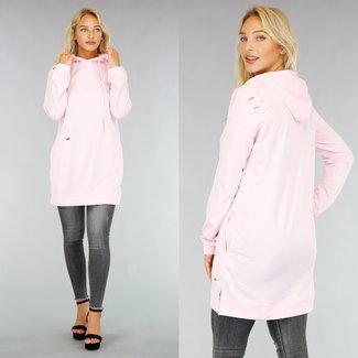 NEW2608 Lichtroze Sweater Dress met Gaten