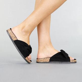 Zwarte Suède Look Slippers met Strik