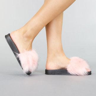 Slippers met Roze Gemêleerd Bont