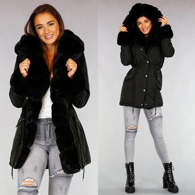 NEW1509 Zwarte Bont Gevoerde Lange Winterjas