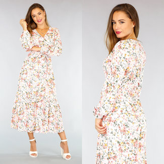 NEW2309 Witte Maxi Dress met Overslag en Bloemenprint