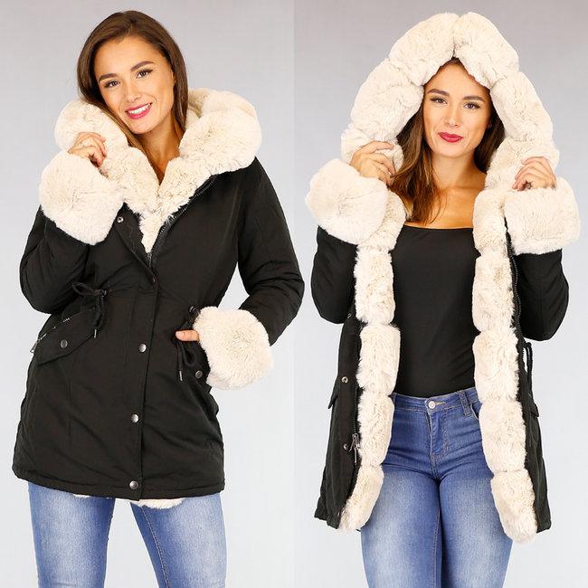 Zwart met Beige Bont Gevoerde Lange Winterjas