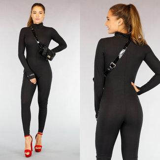 Zwarte Rib Jumpsuit met Rits