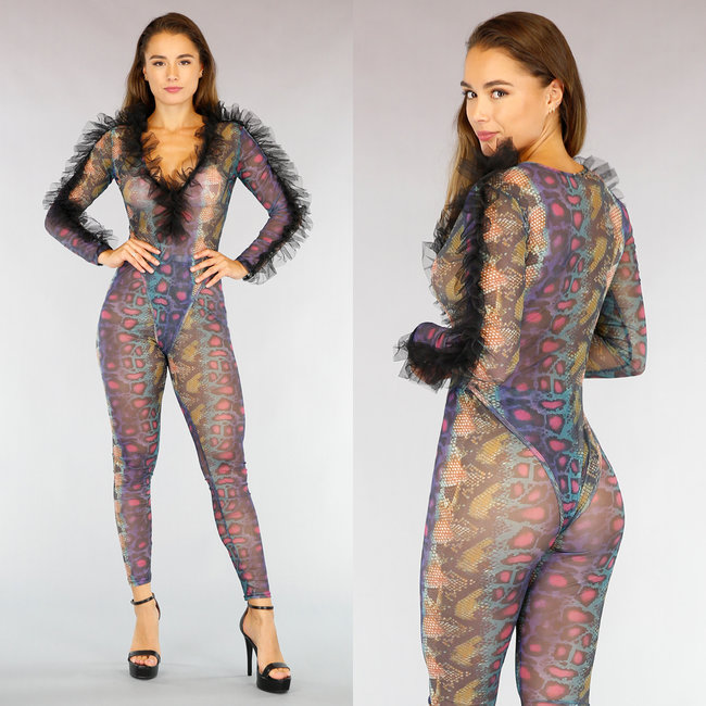Multicolor See-Trough Snake Two Piece met Ruches