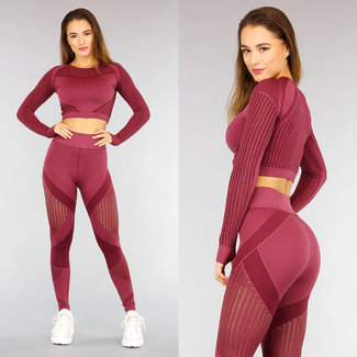 Wijnrode Longsleeve Sport Set met See Through Strepen