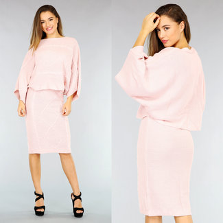 NEW2110 Roze Knitted 2-Piece met Rok