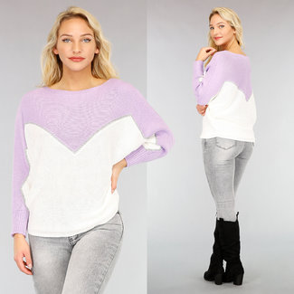 Lila/Witte Loose-Fit Trui