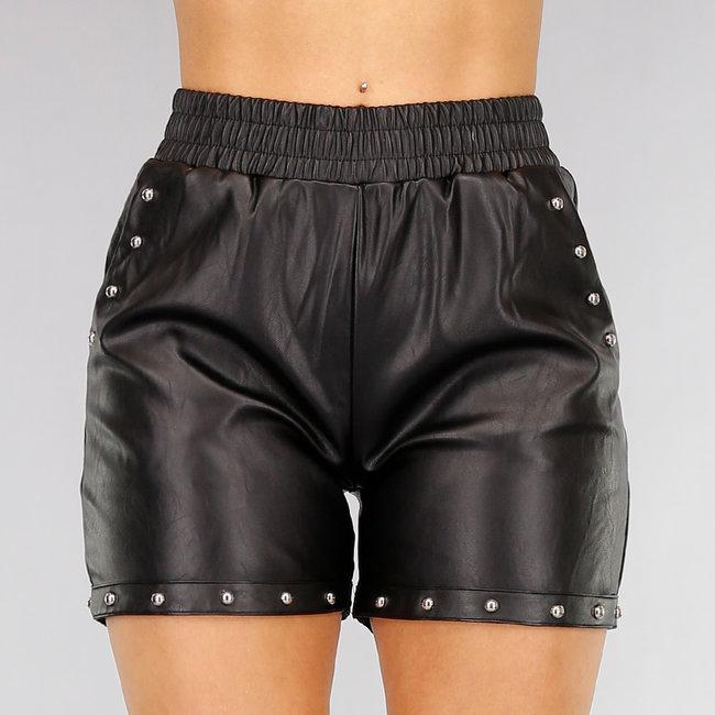 Zwart Lederlook Short met Studs
