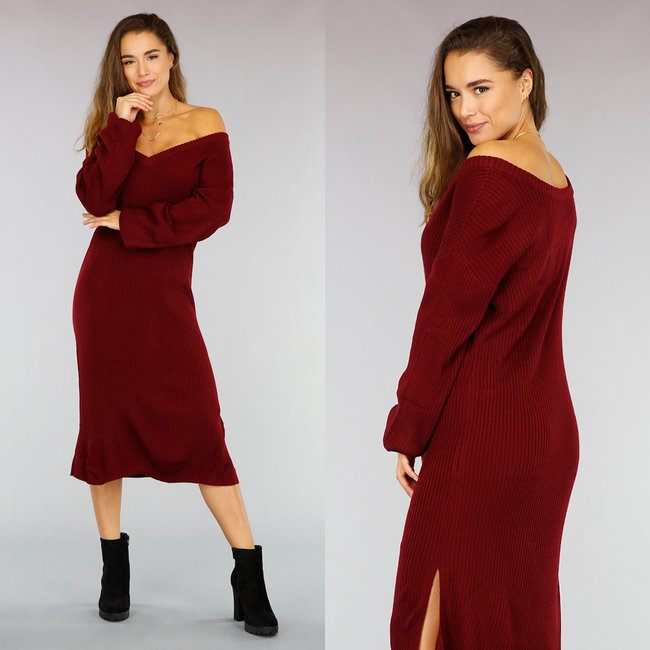 !XSALE Loose-Fit Wijnrode Rib Dress met Split