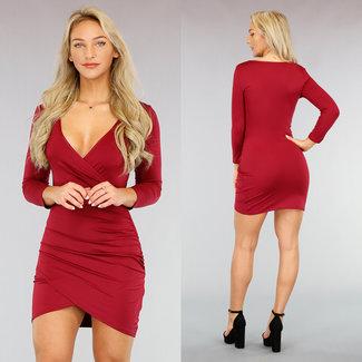 Sexy Rood Bodycon Jurkje met Overslag