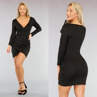 NEW0610 Sexy Zwart Bodycon Jurkje met Overslag