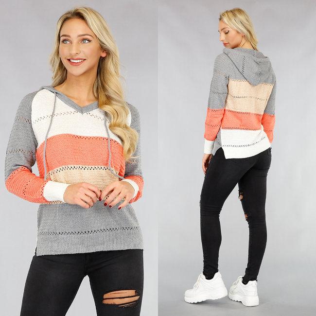 Oranje/Grijs Gestreepte Knitted Hoodie