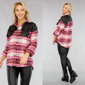 Roze Flanellen Blok Blouse met Lederlook