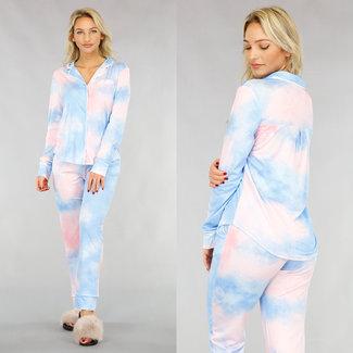 NEW1612 Tie Dye Pyjama met Knoopjes