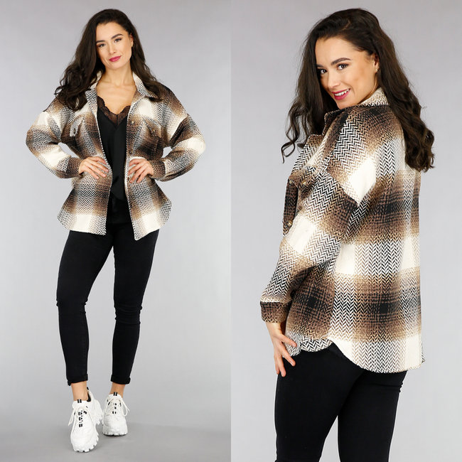 NEW1301 Bruine Tweed Blok Blouse