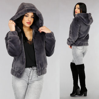 NEW1301 Antraciet Faux Fur Bomber Jas