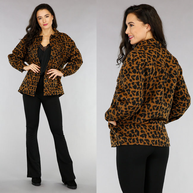 NEW1301 Camel Luipaard Blouse Jack