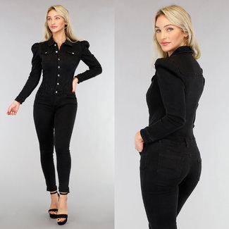 Zwarte Washed Stretch Jeans Jumpsuit met Pofschouders