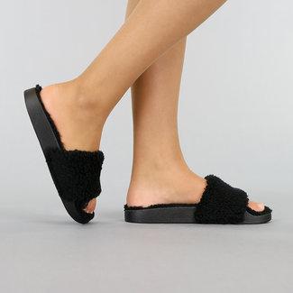 Zwarte Teddy Slippers