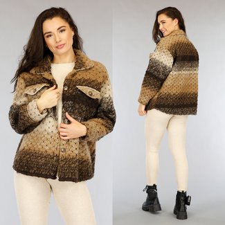 NEW1002 Bruin Knitted Jacket met Knopen