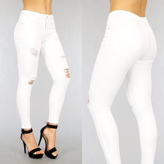 Witte Medium Waist Jeans met Scheuren