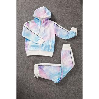 NEW1702 Tie Dye Meisjes Trainingspak Wit