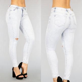Lichtblauwe Medium Waist Stretch Jeans met Scheur