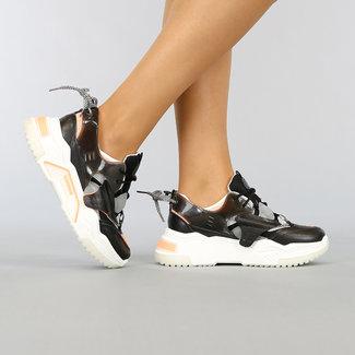 NEW1702 Zwarte Sneakers met Grove Zool en Veterdetail
